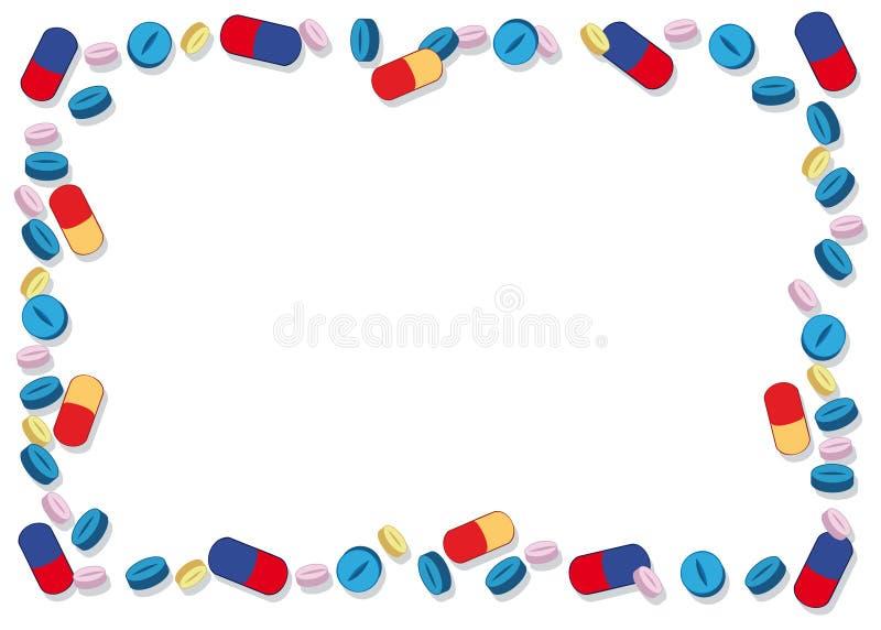 色的药片框架 向量例证
