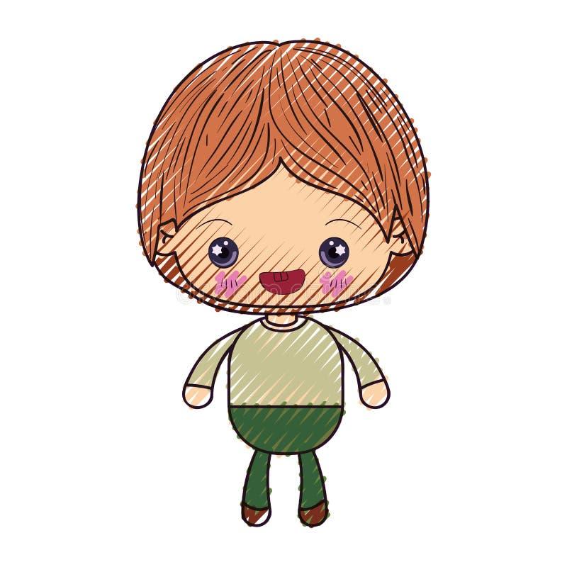色的蜡笔剪影kawaii小男孩微笑 库存例证