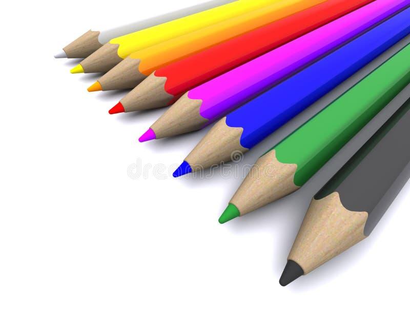 色的蜡笔铅笔 向量例证