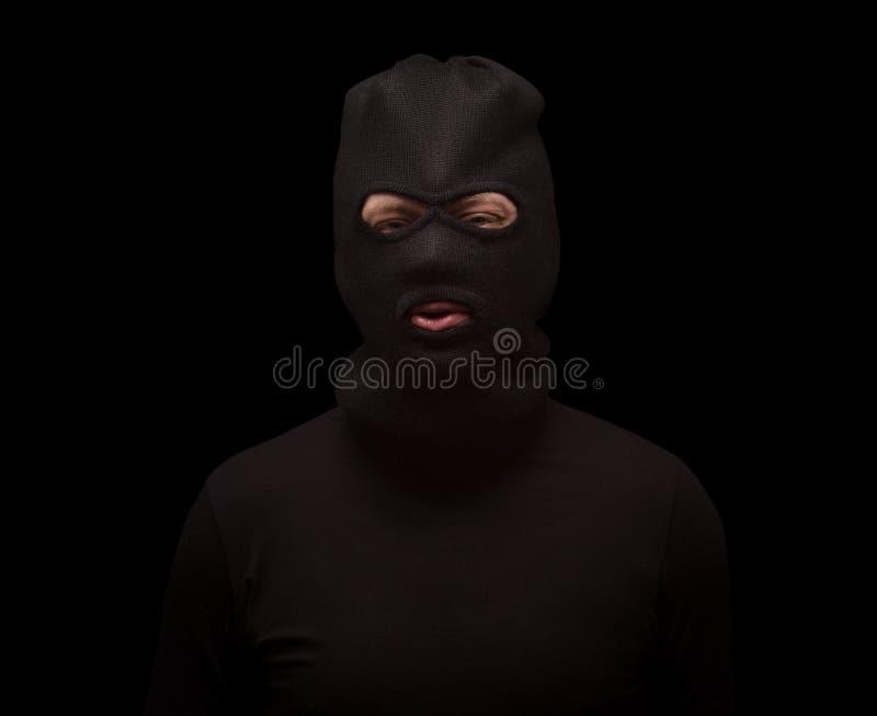 黑色的被掩没的窃贼 免版税库存图片