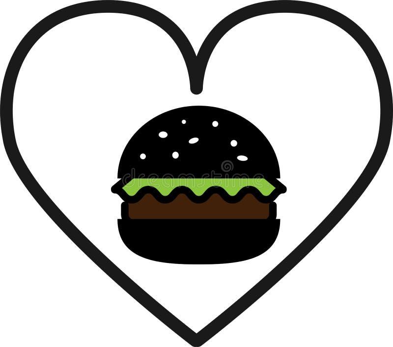 色的象爱黑汉堡包用沙拉和剁 向量例证
