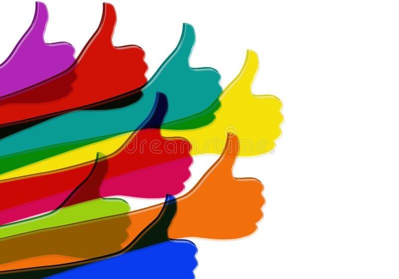 -色的赞许 人脉概念 联机用户 分享并且跟随 正面和认同 frie之间的通信 向量例证