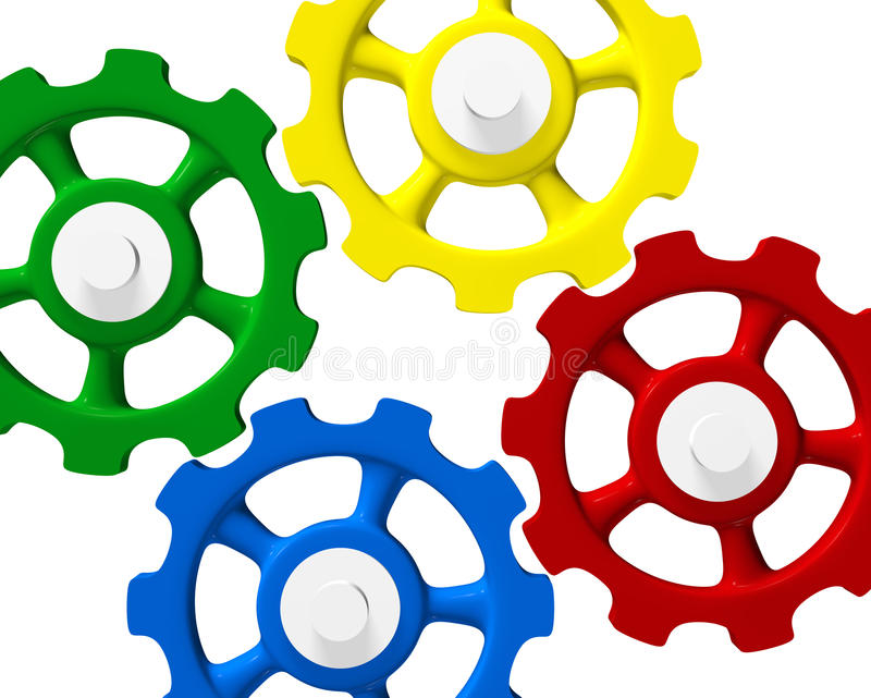 色的连结的齿轮 库存例证