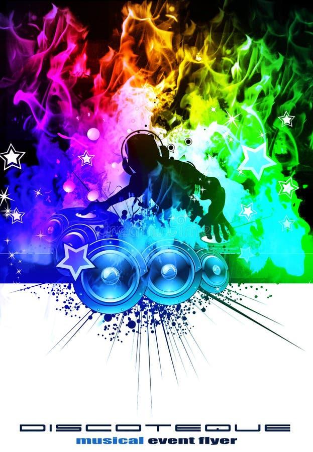 色的迪斯科dj发火焰彩虹 向量例证