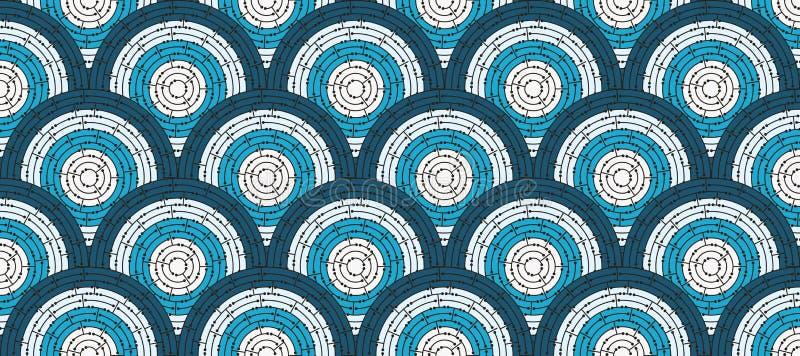 色的迷宫的圆无缝的样式与小点的,平 库存例证