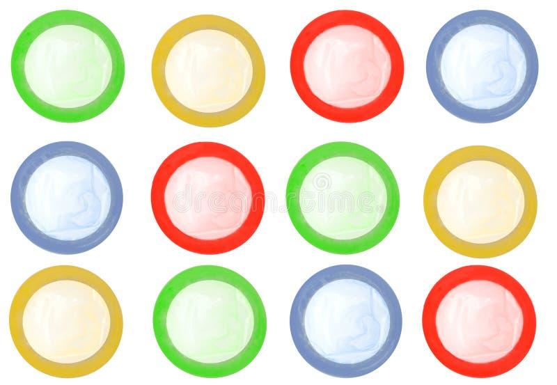 色的避孕套查出 库存图片
