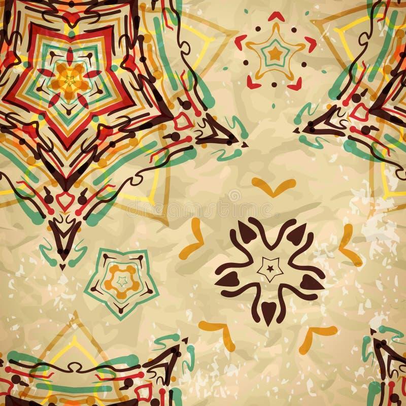 色的金刚石和样式的纺织品无缝的样式 库存例证