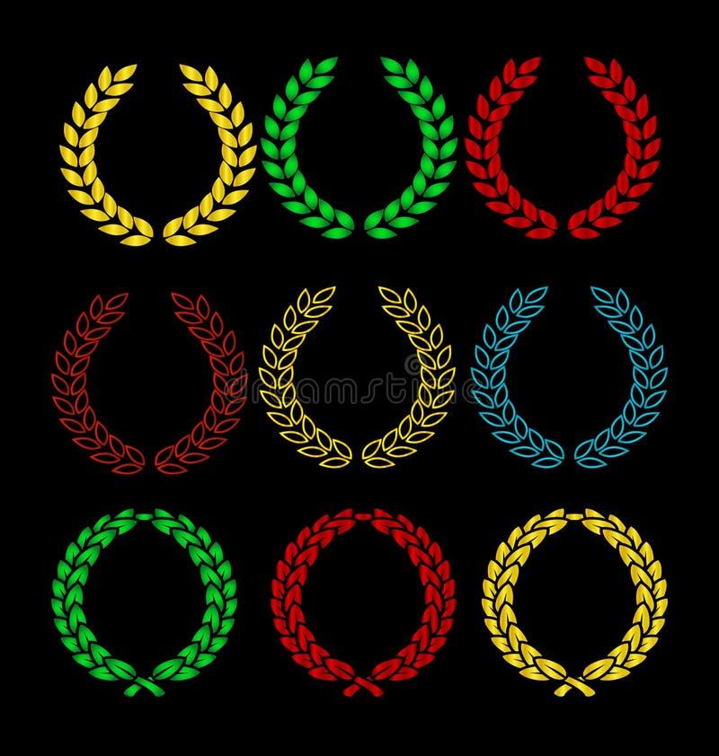 色的金子查出的集合符号花圈 向量例证