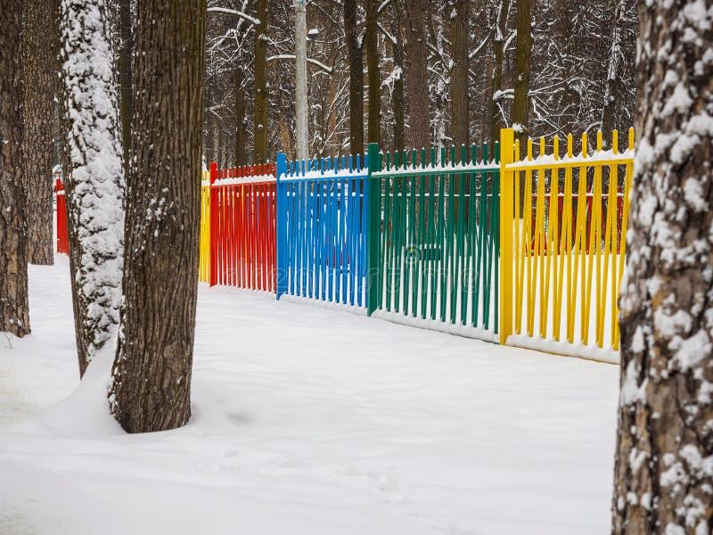 色的金属篱芭在公园 免版税库存照片