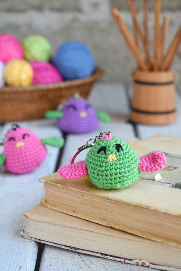 色的钩针编织鸟 婴孩或小装饰品的玩具 手工制造礼物 DIY工艺概念 免版税库存照片