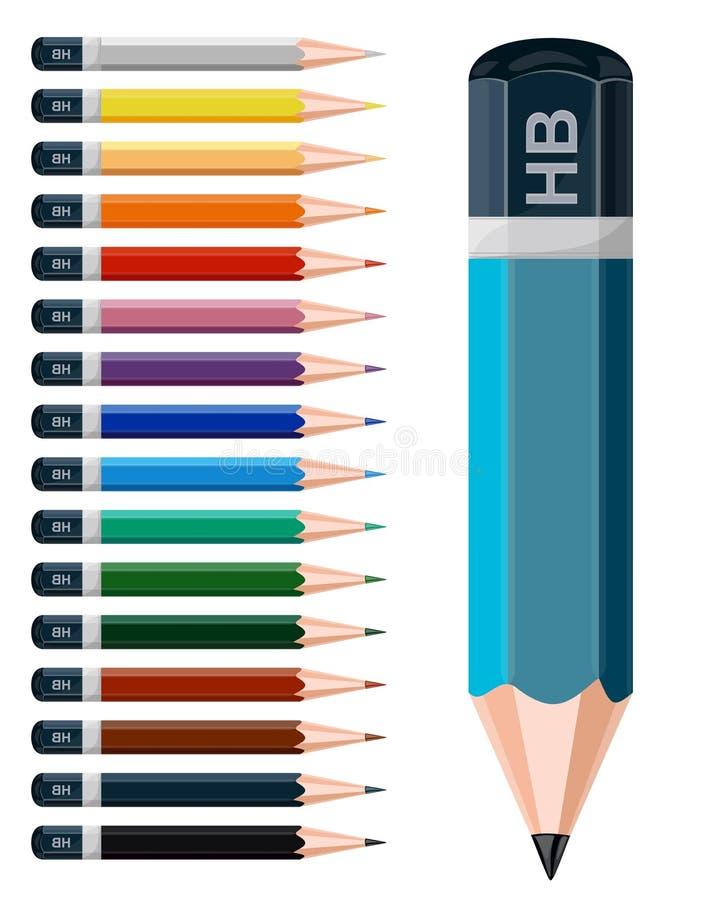 色的铅笔。 向量例证