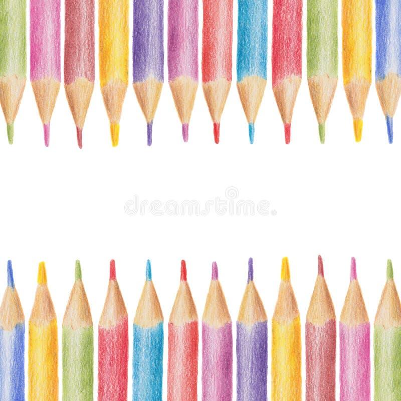色的铅笔做的水平的框架,蜡笔 免版税库存照片