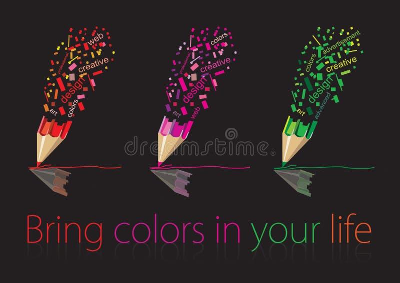 色的铅笔图 免版税库存照片