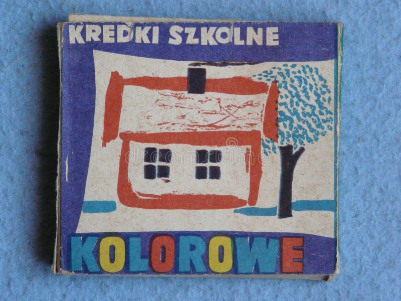 色的铅笔在波兰生产了20世纪的20世纪70年代 库存图片