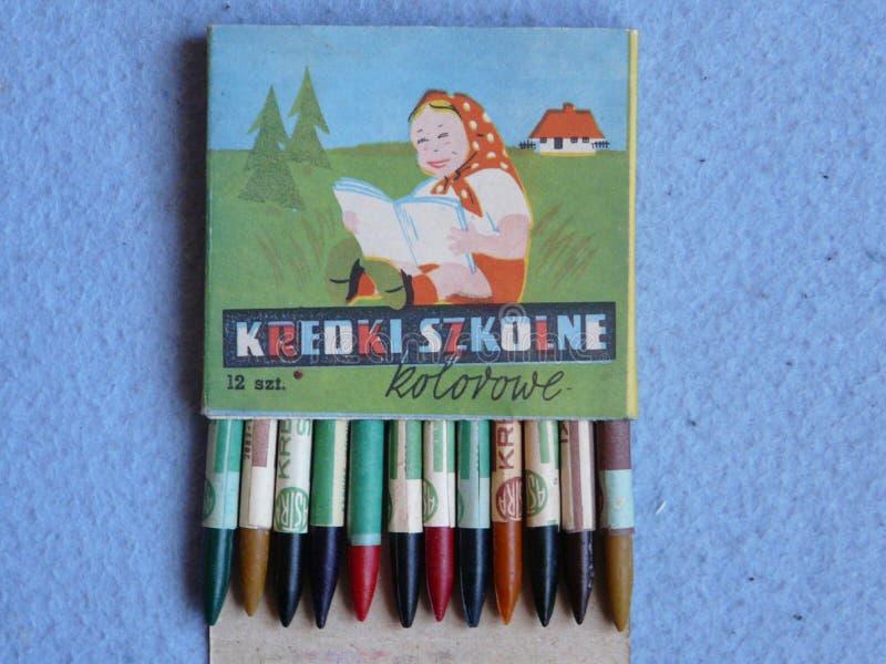 色的铅笔在波兰生产了20世纪的20世纪70年代 免版税库存图片