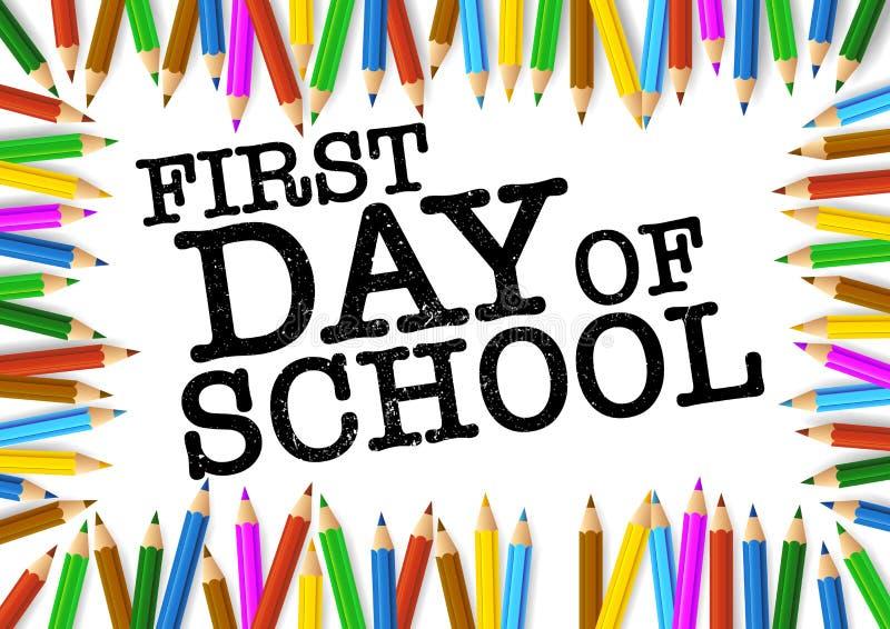 色的铅笔在词第一天学校附近安排了 向量例证