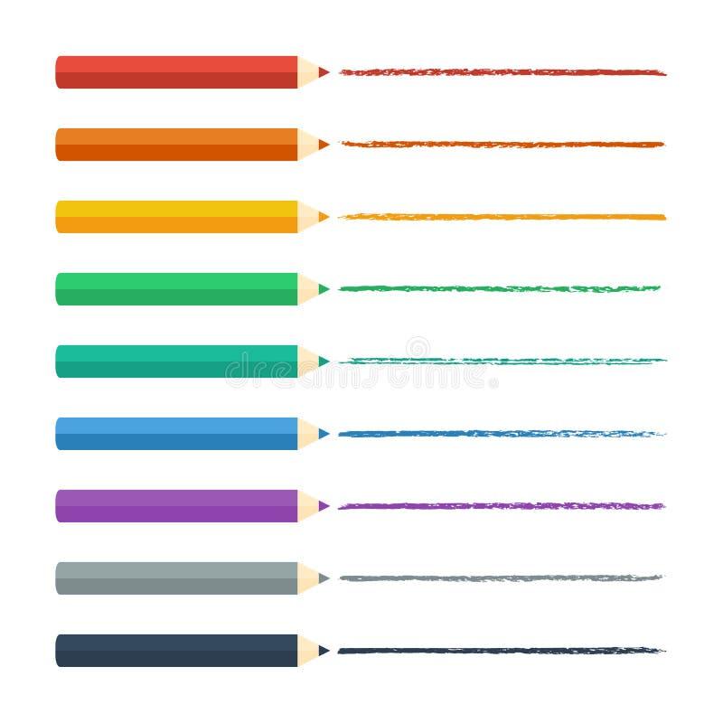 色的铅笔明亮的五颜六色的集合 也corel凹道例证向量 库存例证