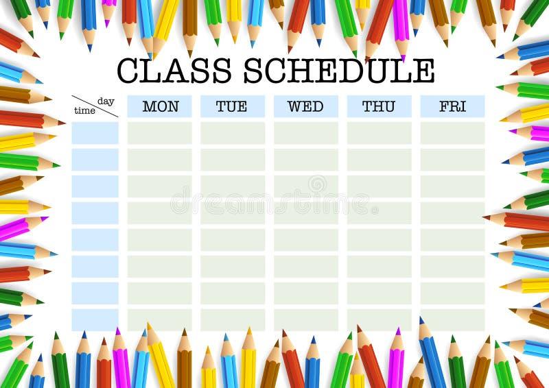 色的铅笔模板围拢的课程表 库存例证