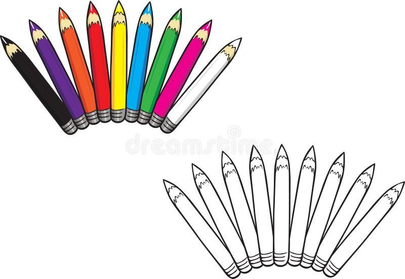 色的铅笔汇集彩图 向量例证
