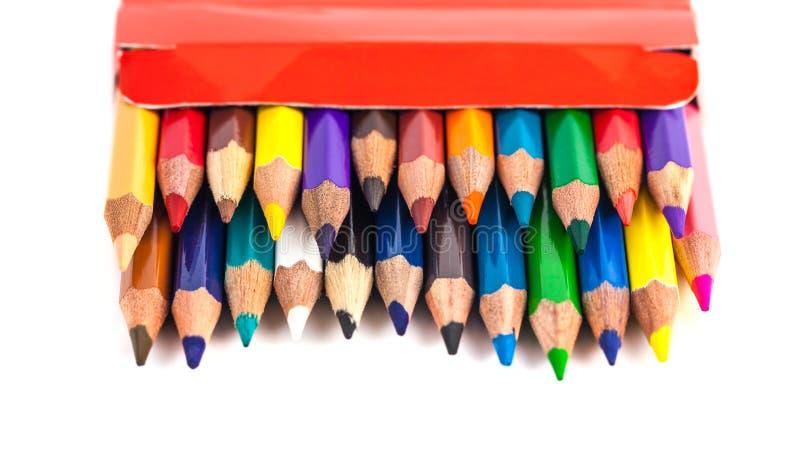 色的铅笔的数字在白色背景隔绝的箱子的 免版税库存图片