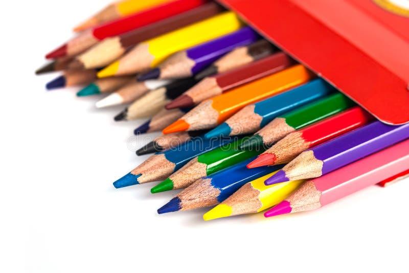 色的铅笔的数字在白色背景隔绝的箱子的 库存图片