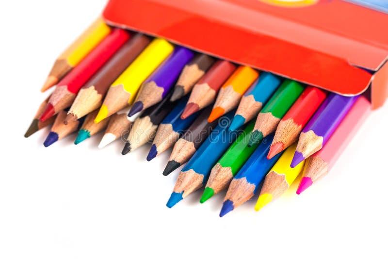 色的铅笔的数字在白色背景隔绝的箱子的 库存照片