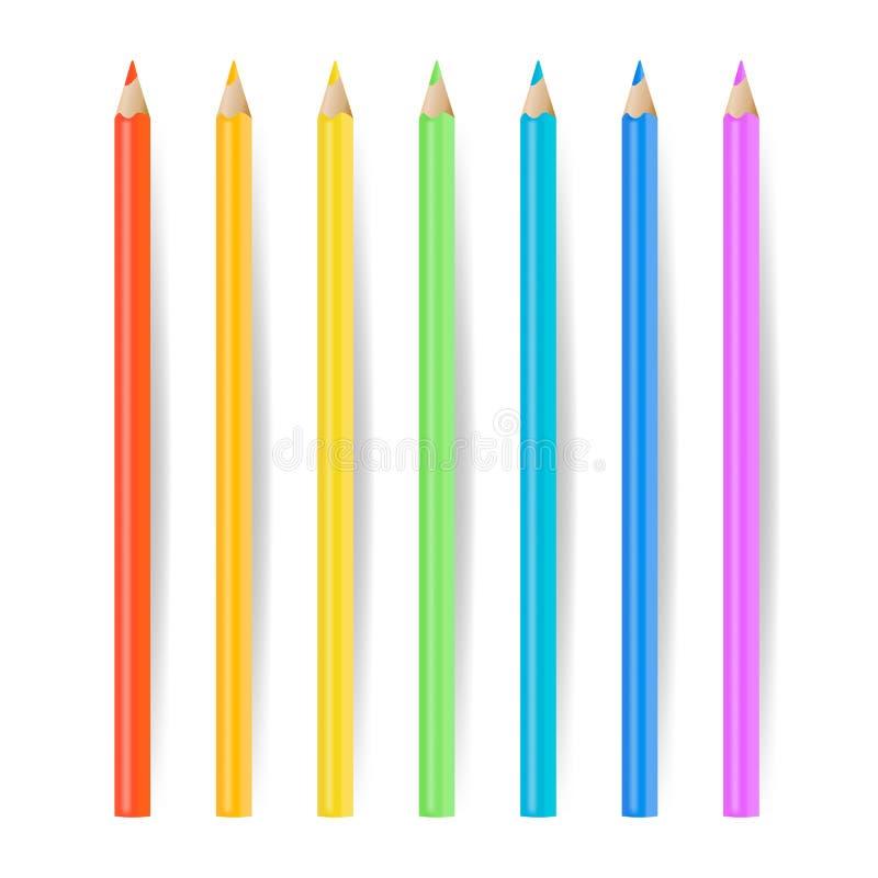 色的铅笔被设置的传染媒介 现实学校用工具加工在白色例证隔绝的蜡笔 库存例证