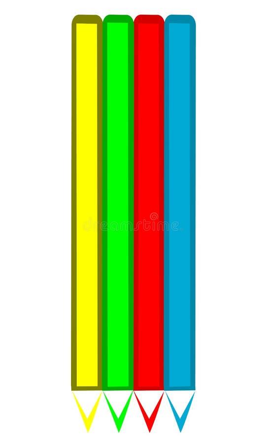色的铅笔集 皇族释放例证