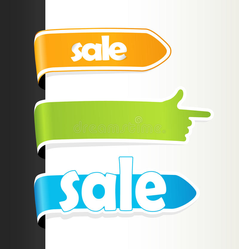 色的销售额集合标签 向量例证