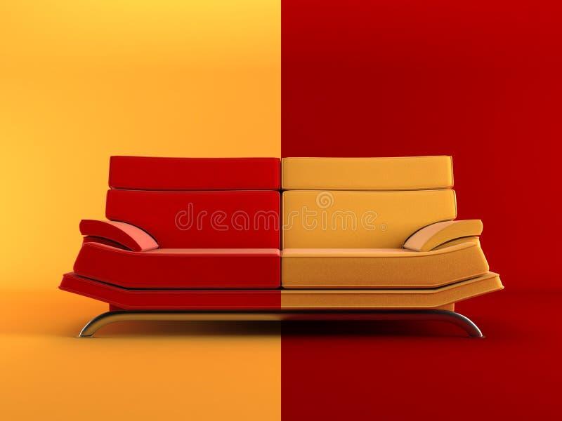 色的长沙发现代二 皇族释放例证