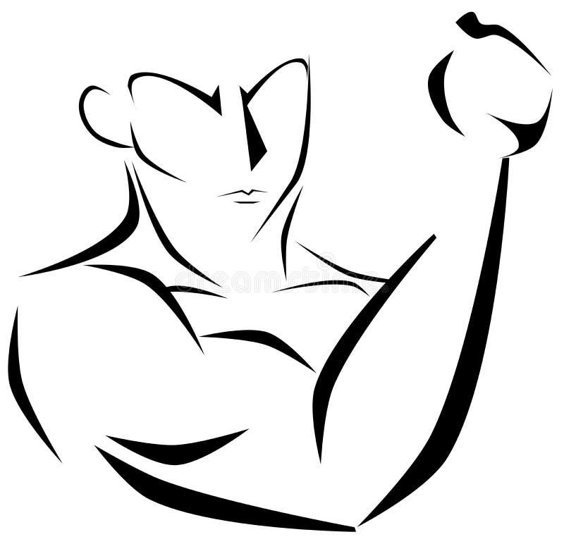 黑色的风格化肌肉人 库存例证