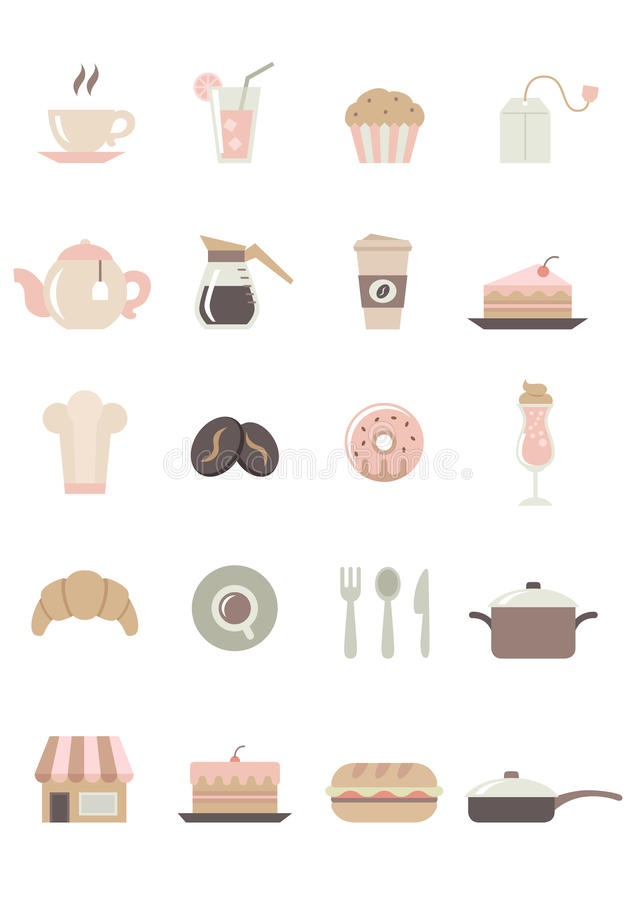 -色的食物&咖啡馆象 库存例证