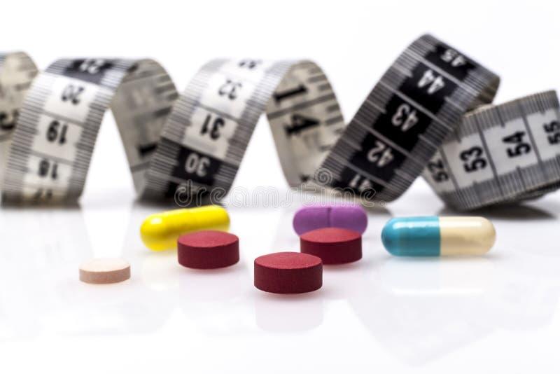 色的饮食药片 库存图片