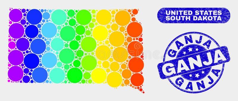 色的马赛克南达科他状态地图和困厄Ganja邮票封印 库存例证