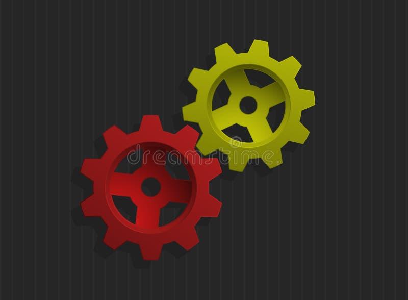 色的齿轮例证向量 皇族释放例证