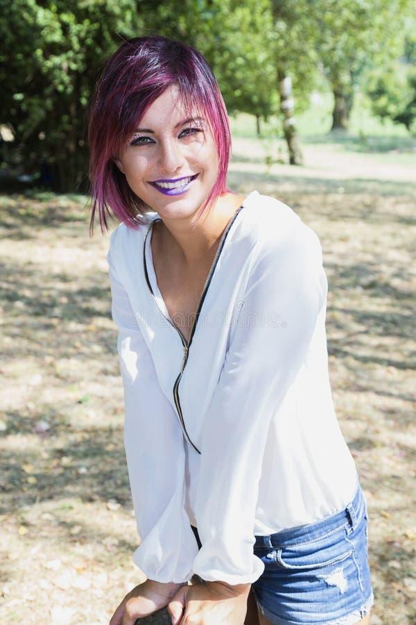 紫色的嘴唇 免版税库存照片
