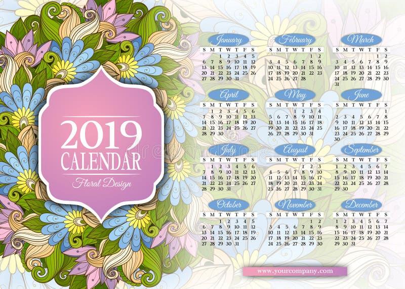 色的2019年日历长方形模板. brandywine, 小册子.图片