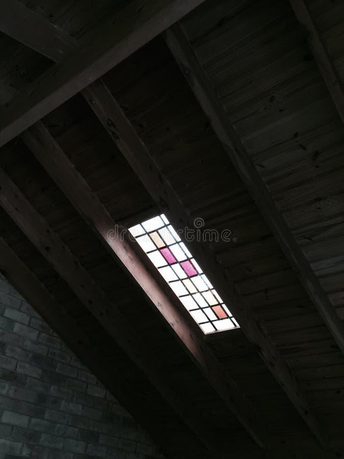 色的玻璃窗守旧派 库存照片