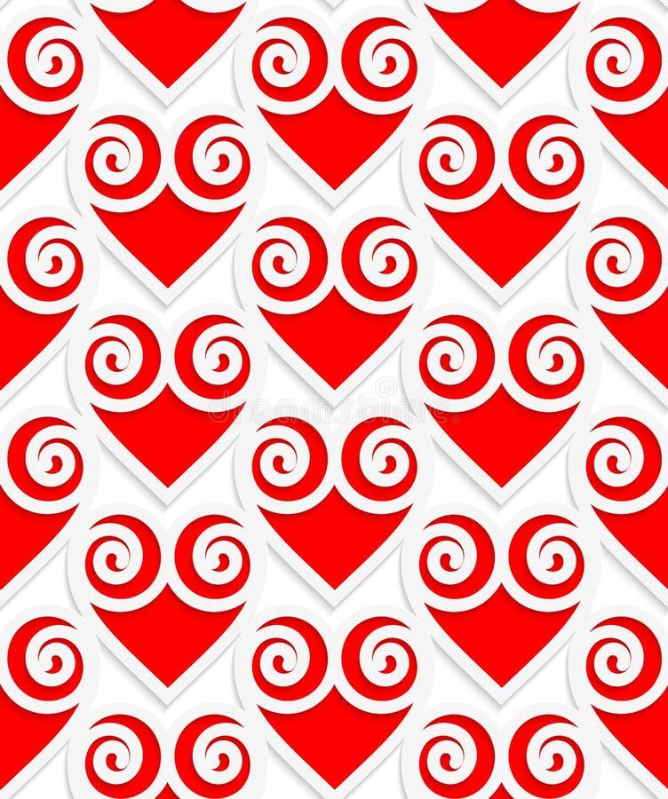 色的3D红色swirly心脏 库存例证