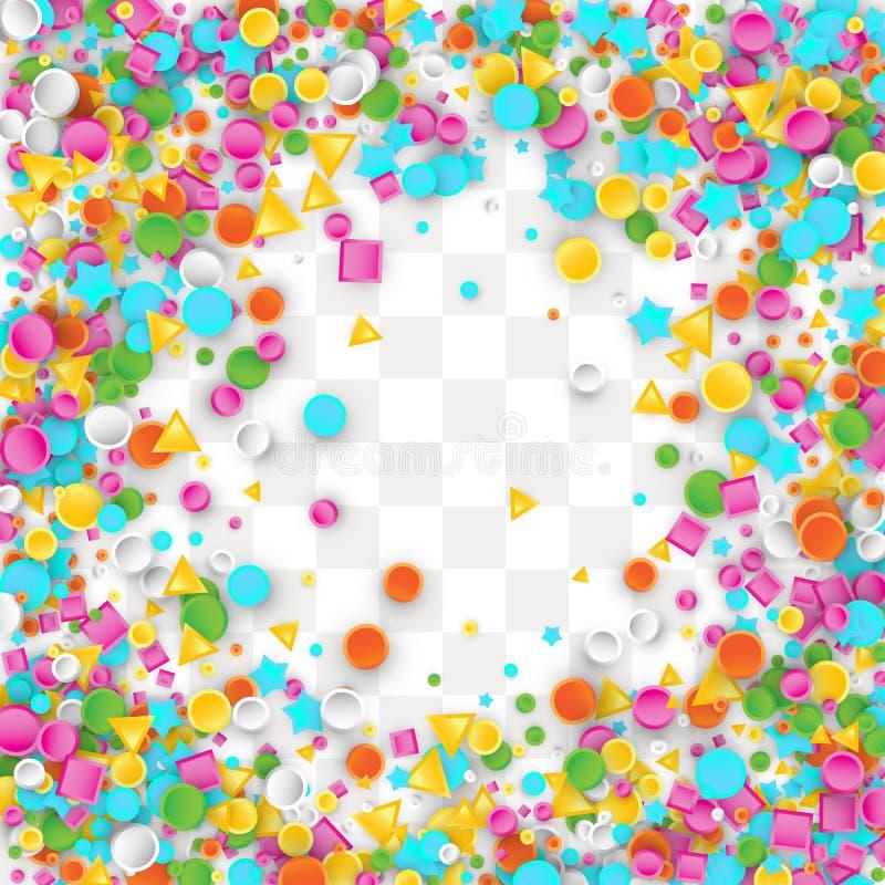 色的carnaval五彩纸屑背景 库存例证