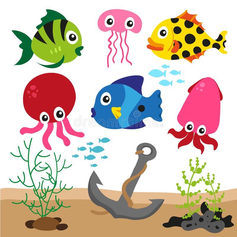 色的sealife背景 库存例证