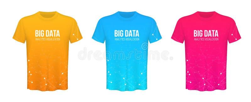 色的T恤杉的创造性的传染媒介例证在透明背景设置了被隔绝 艺术设计空白大模型 库存例证
