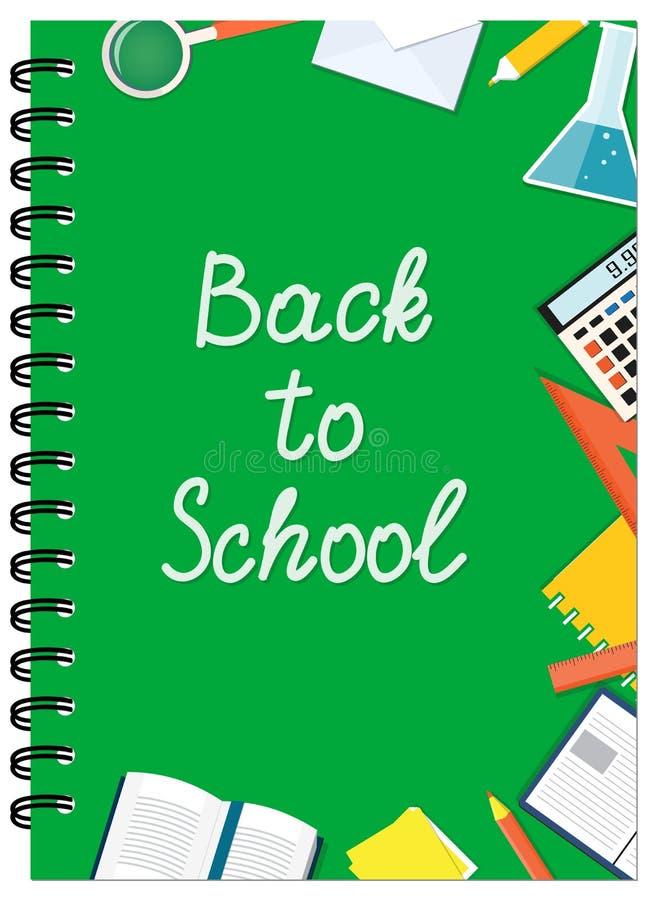 A5绿色盖子设计有文本和文具的学校笔记本 皇族释放例证