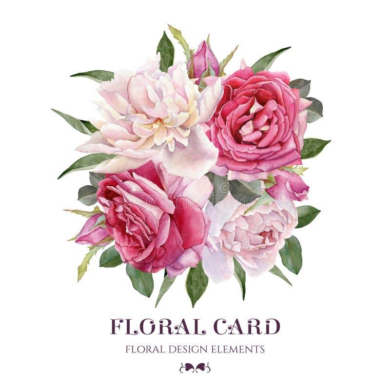 黑色看板卡空白色的花卉花的虹膜 水彩玫瑰和白色牡丹花束  皇族释放例证