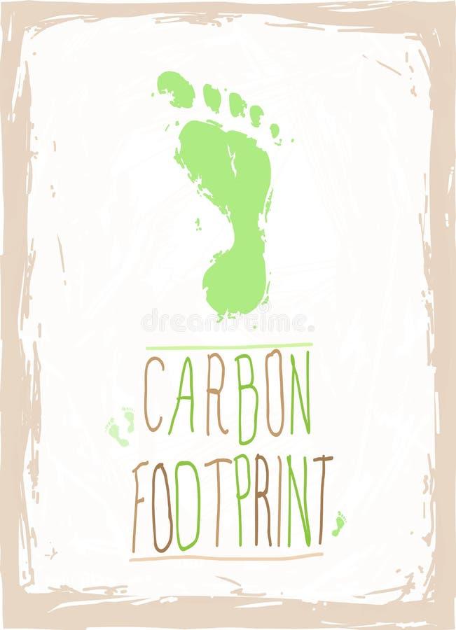 绿色碳脚印 向量例证