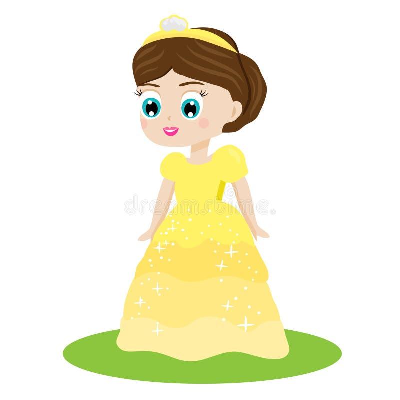 黄色礼服和冠的逗人喜爱的kawaii童话公主 女王/王后服装的女孩 动画片样式传染媒介例证 向量例证