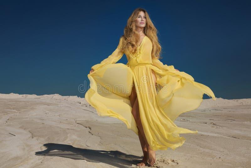 黄色礼服的白肤金发的美丽的夫人 库存图片