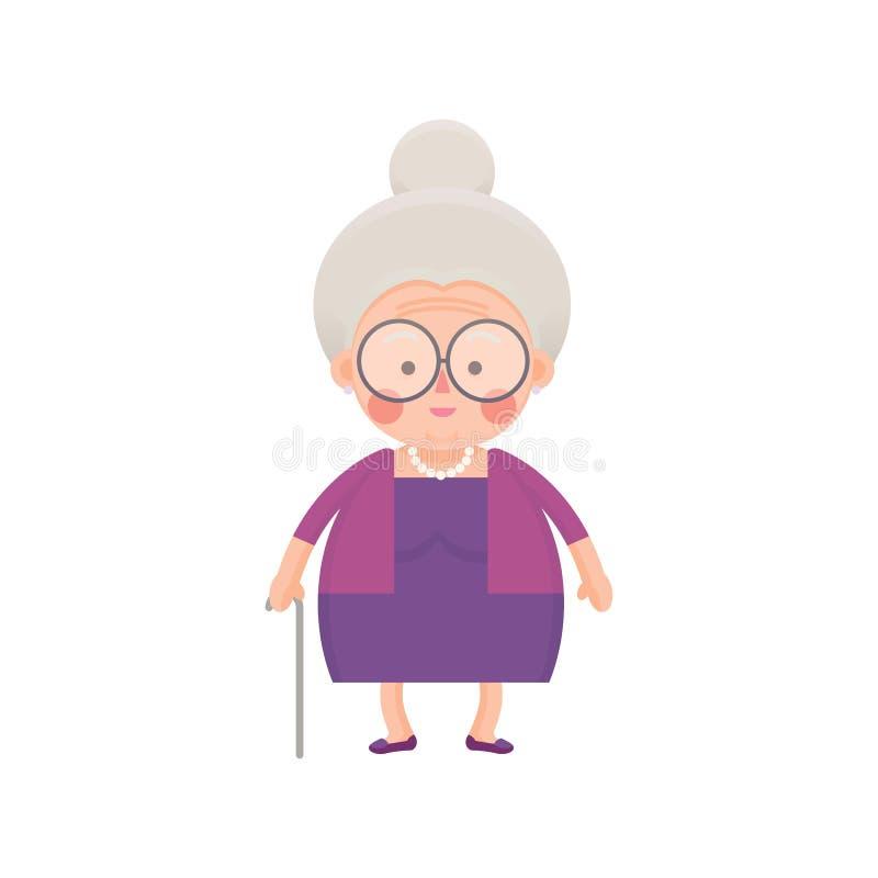紫色礼服的老妇人用拐棍 向量例证