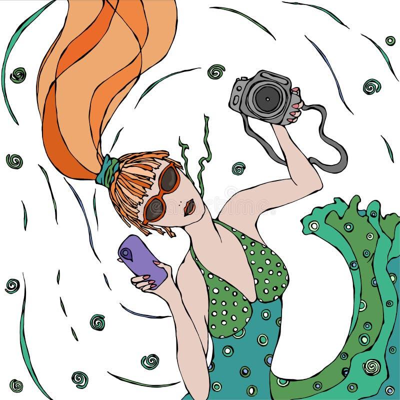 绿色礼服的逗人喜爱的美丽的时兴的红头发人女孩做上面selfie视图 向量例证