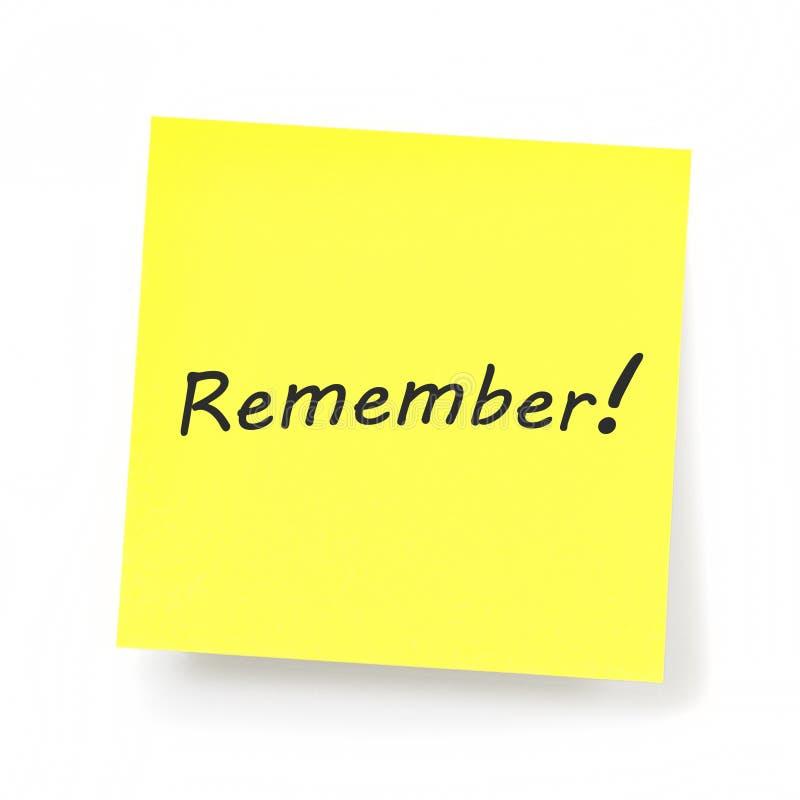 黄色稠粘的笔记-记住 库存图片